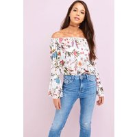 Girls on Film White Floral Print Bardot Top  size: ONE SIZE, colour: M