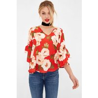 Girls on Film Red Floral Print Tie Sleeve Blouse  size: 14 UK, colour:
