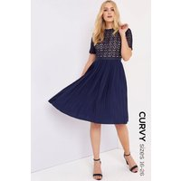 Little Mistress Curvy Navy Crochet Prom size: 26 UK, colour: Navy