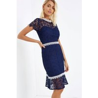 Paper Dolls Navy Crochet Peplum Hem Dress size: 14 UK | EUR 42, colour