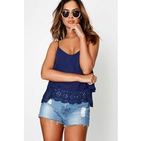 Girls on Film Navy Lace Trim Top  size: XS, colour: Navy