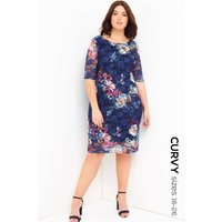 Girls On Film Curvy Floral Print Bodycon Dress size: 24 UK l EUR 52, c