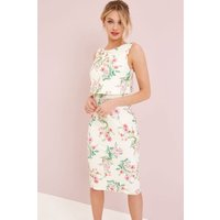 Little Mistress Cream Floral Print Bodycon size: 6 UK | EUR 34, colour