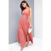 Little Mistress Rose Lace Maxi Dress With Belt size: 6 UK, colour: Pin