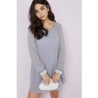 Little Mistress Grey Chiffon and Pearl Shift size: 10 UK, colour: Grey