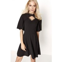 Girls on Film Black Skater Dress size: 8 UK, colour: Black