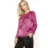 Girls on Film Raspberry Satin Blouse  size: 12 UK | EUR 40, colour: Ra