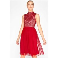 Little Mistress Red Sequin Prom size: 10 UK, colour: Red