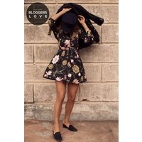 Girls on Film Autumn Floral Print Skater Dress  size: 10 UK, colour: P