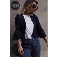 Girls on Film Navy Frill Hem Jacket size: 12 UK, colour: Navy