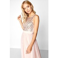 Little Mistress Salmon Sequin Midi Dress size: 6 UK, colour: Pink