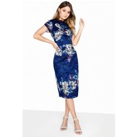 Little Mistress Print Bodycon Dress size: 14 UK, colour: Navy