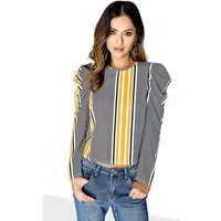Girls on Film Puff Sleeve Top size: 12 UK, colour: Print