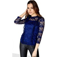 Girls on Film Navy Lace Top size: 10 UK, colour: Navy
