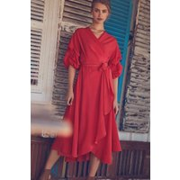 Girls on Film Spotted Red Wrap Dress size: 10 UK, colour: Red
