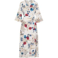 White Print Midi Dress  size: M, colour: Print