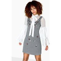 Girls on Film Morgan Gingham Embroidered Shift Dress size: 14 UK, colo