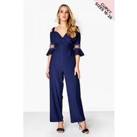 Little Mistress Curvy Navy Bead Jumpsuit size: 16 UK, colour: Navy