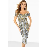 Girls on Film Pose Foldover Bardot Dress In Chain Print size: 14 UK, c