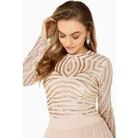 Little Mistress Emma Hand-Embellished Linear Sequin Top Co-Ord size: 8