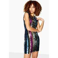 Outlet Girls On Film Aion Low Cut Back Dress In Sequin Stripe size: 14