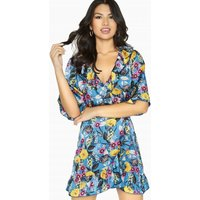 Girls on Film Neverland Button Wrap Dress size: 6 UK, colour: Multi