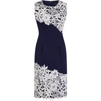 Paper Dolls Contrast Lace Dress size: 14 UK, colour: Navy / Cream