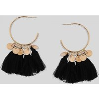 Black Hoop Tassel Earrings