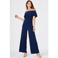Girls on Film Avril Wide Leg Jumpsuit size: 8 UK, colour: Navy