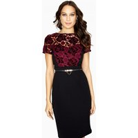 Paper Dolls Sola Lace Dress With Velvet Lace size: 14 UK, colour: Blac
