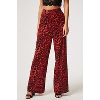 Girls on Film Legacy Wide Leg Trouser In Red Leopard size: 8 UK, colou