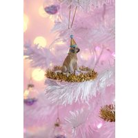 Sass & Belle Party Pup Pug Tinsel Bauble size: ONE SIZE, colour: