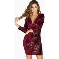 Little Mistress Marcia Sequin And Velvet Plunge Dress size: 6 UK, colo