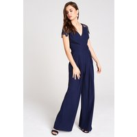 Image of Outlet Little Mistress Mara Navy Tie Back Jumpsuit With Lace size: 12