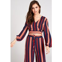 Girls on Film Ginny Stripe Crop Top Co-Ord size: 8 UK, colour: Red / N
