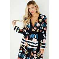 Little Mistress Rossy Tie Waist Blazer In  Floral Stripe size: 16 UK,