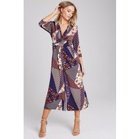 Girls on Film Edison Mixed-Print Culotte Jumpsuit size: 8 UK, colour: