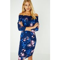 Pasadena Blue Floral Bardot Dress