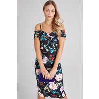 Girls on Film Pose Floral-Print Foldover Bardot Midi Dress size: 14 UK