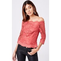 Little Mistress Helene Terracotta Lace Bardot Top size: 6 UK, colour: