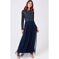 Little Mistress Luxury Natasha Navy Hand Embellished Sequin Maxi Dress