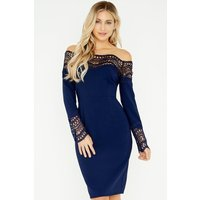 Outlet Little Mistress Gaby Navy Crochet Lace Bardot Dress size: 6 UK,