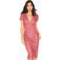 Little Mistress Megan Plunge Neck Crochet Pencil Dress size: 6 UK, col