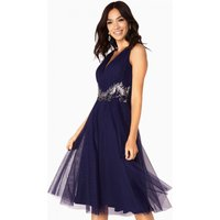 Little Mistress Felicity Embellished Mesh Prom Dress size: 14 UK, colo