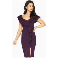 Girls on Film Silhouette Ruffle Dress size: 8 UK, colour: Purple