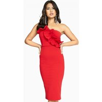 Girls on Film Halcyon Frill Bandeau Dress size: 12 UK, colour: Red