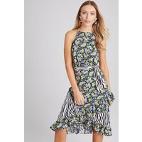 Girls on Film Sidney Mixed-Print Frill Midi Dress size: 6 UK, colour: