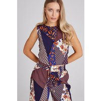 Girls on Film Iris Mixed-Print Lace-Up Top Co-ord size: 14 UK, colour: