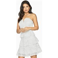 Girls on Film Starry Eyed Tiered Lace Dress size: 6 UK, colour: White