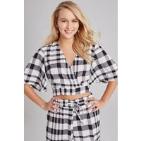 Girls on Film Heath Check Draped-Sleeve Top Co-ord size: 16 UK, colour